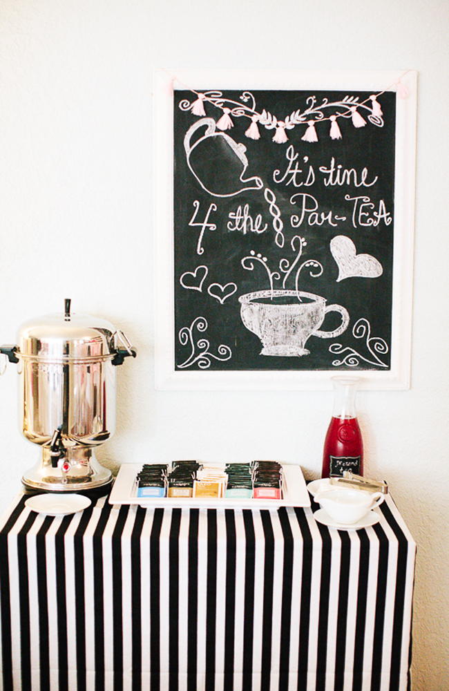 Tea Party Drink Station | Black & White Tea Party