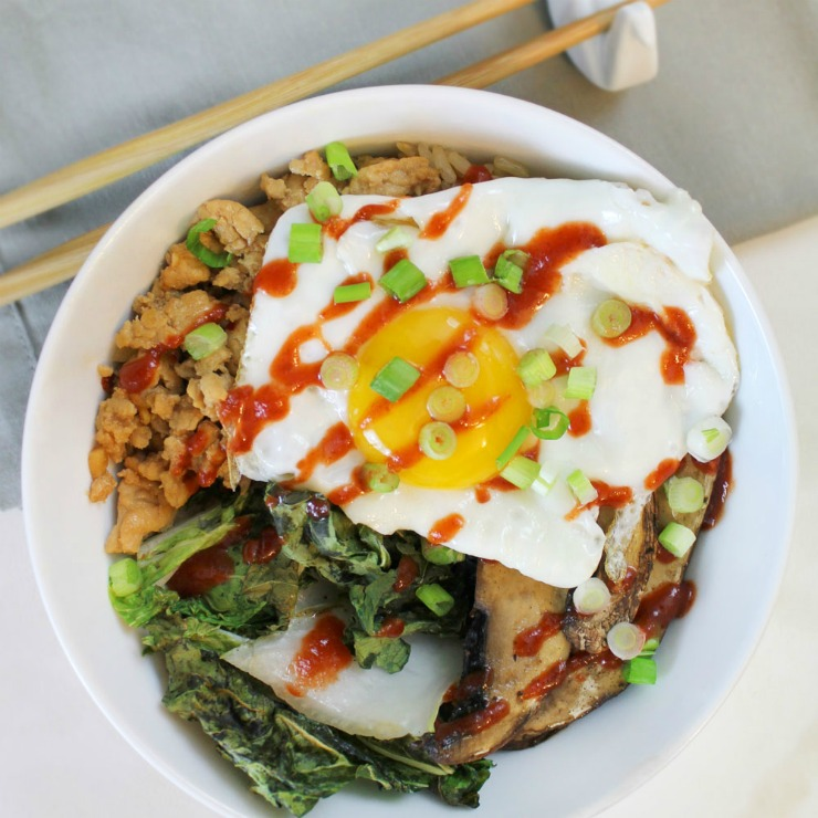 Rice bowl with an egg on top! Delicious.
