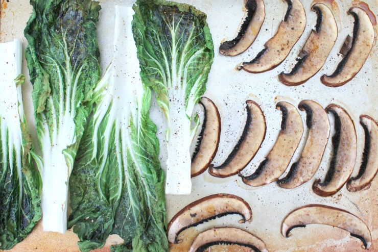 Roasted bok choy and mushrooms