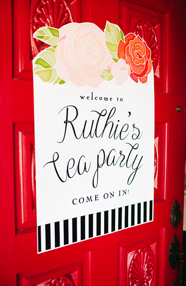 How cute is the sign for this tea party!