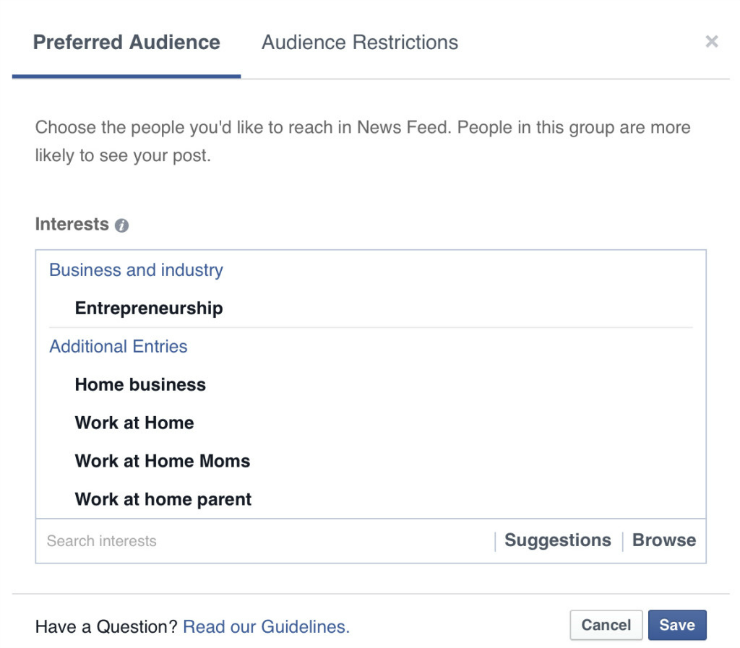 Choose your preferred audience for your Facebook post.