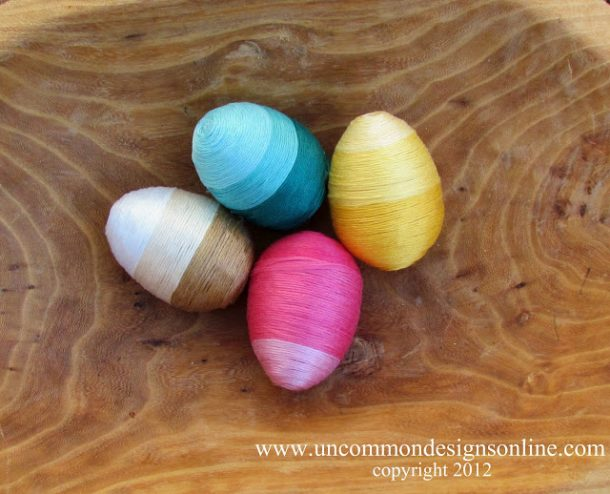 How beautiful are these thread wrapped eggs!