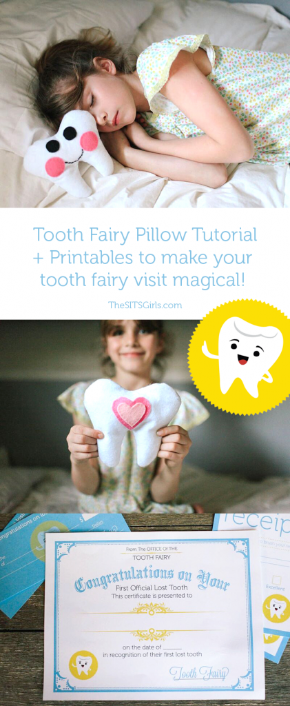Make the Tooth Fairy visit special with this cute DIY Tooth Fairy pillow and super cute Tooth Fairy printables - including a letter from the fairy, tooth receipt, and even an official Tooth Fairy Check for those nights when parents weren't prepared for a lost tooth.