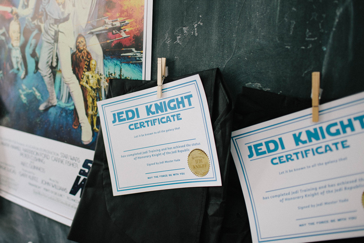 Jedi Certificate for Star Wars Birthday Party