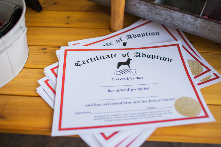 This cute certificate gives your pup a name!