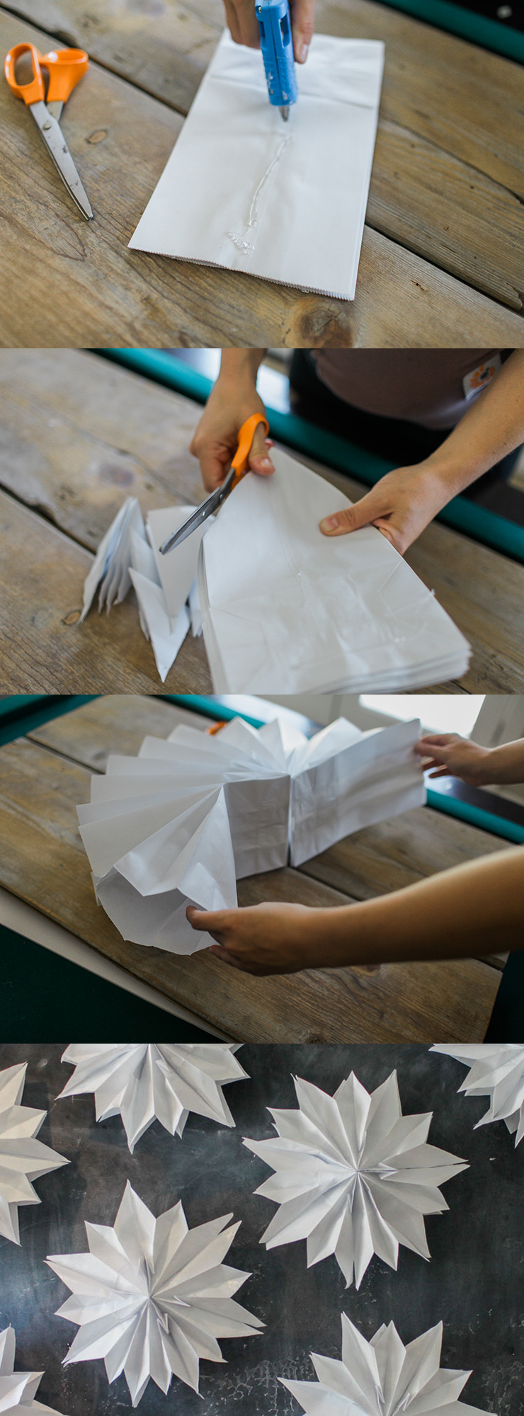 How To Make Paper Christmas Ceiling Decorations : Giant paper bag stars craft party decor