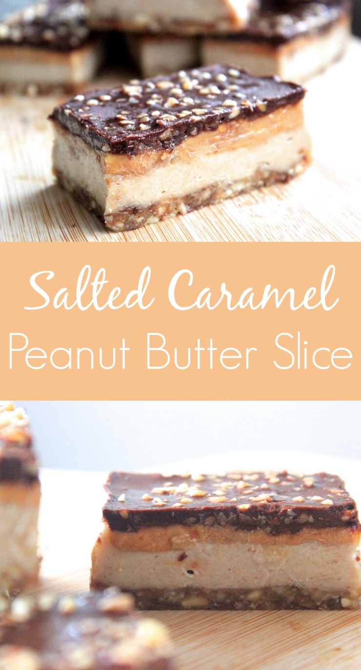 raw salted caramel peanut butter slice dessert bars. Black Bedroom Furniture Sets. Home Design Ideas