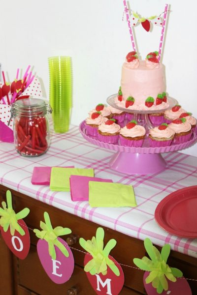 Throw a fun strawberry themed party for a little girl's birthday. Great ideas for DIY party decor, and a delicious recipe for strawberry cakes and cupcakes.