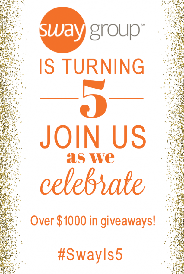 Join us to celebrate as Sway Group turns 5 this week! We have a fun Twitter Party and a great giveaway on Instagram!