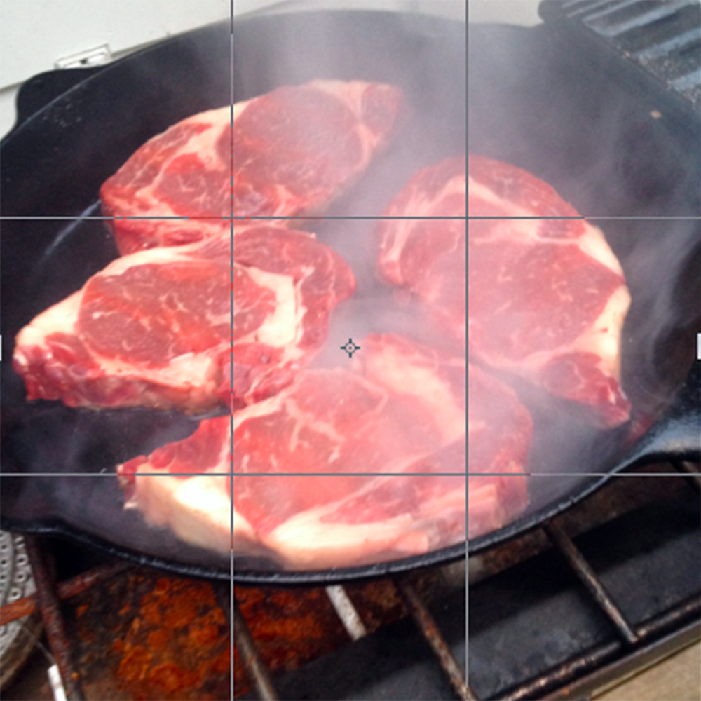 Grilling Steak | Follow the Rule of Thirds while photographing food for a better picture.