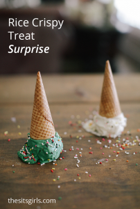 This is the cutest summer treat for kids and would be great for a party, too. Rice crispy treats and chocolate are a delicious combination. You get the look of ice cream without the mess!