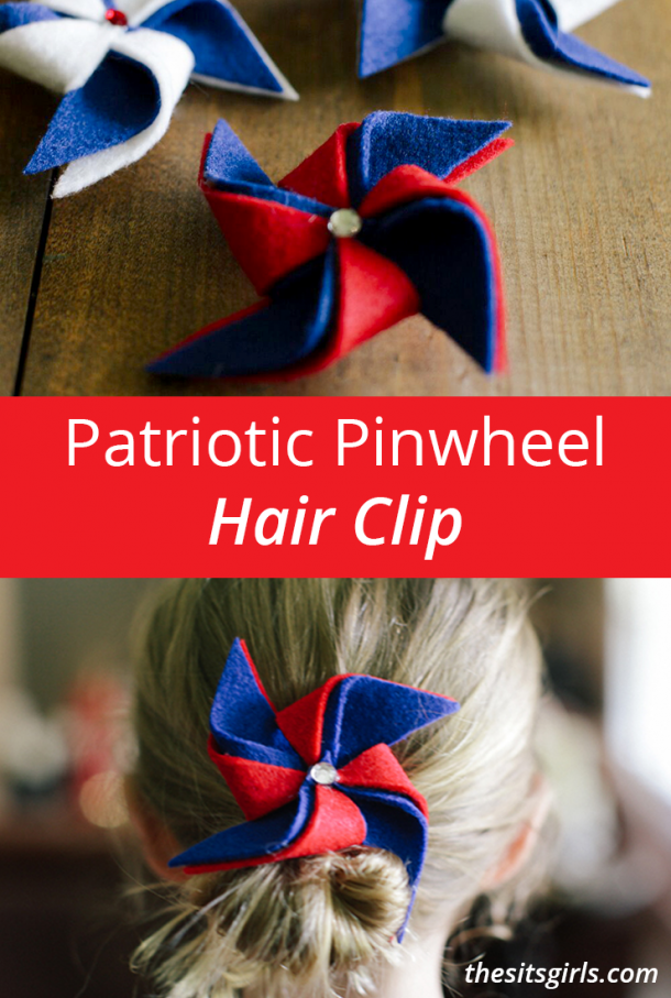 This patriotic pinwheel hair clip is a super cute accessory for the 4th of July. This is also an easy DIY project you could use to teach your child some simple sewing techniques. Make it with different colors than red, white, and blue, and you can wear it all year!