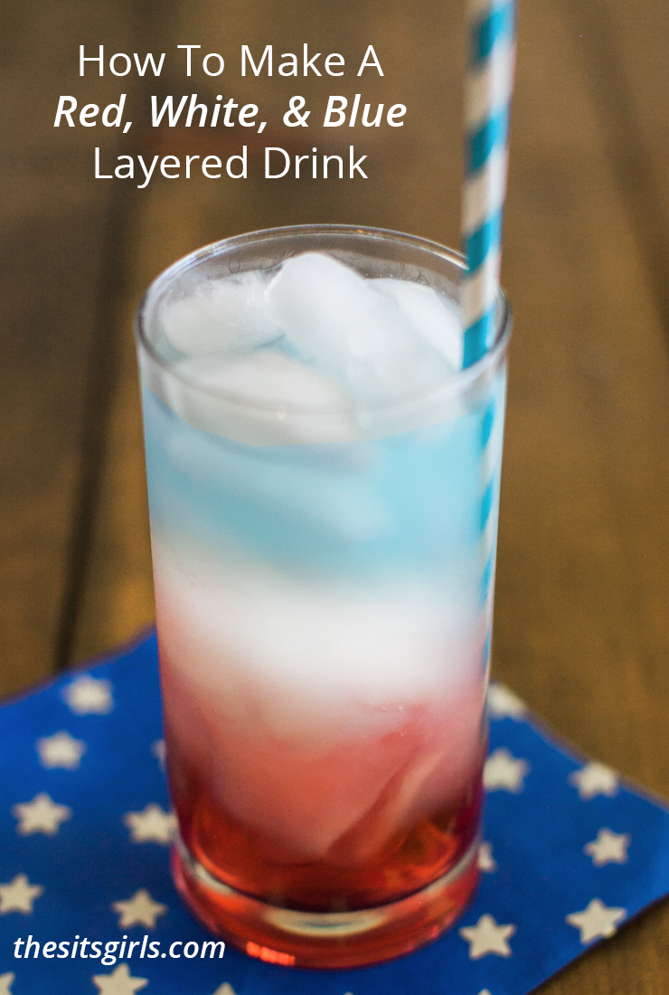 This is the perfect drink recipe for 4th of July. Red, white, and blue layered drink is fancy enough to impress guests, and fun for kids and adults.