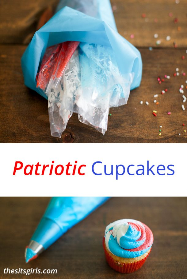 Patriotic Cupcakes | An easy tip for achieving perfect red, white, and blue swirled frosting on every cupcake. Great for your fourth of July party!