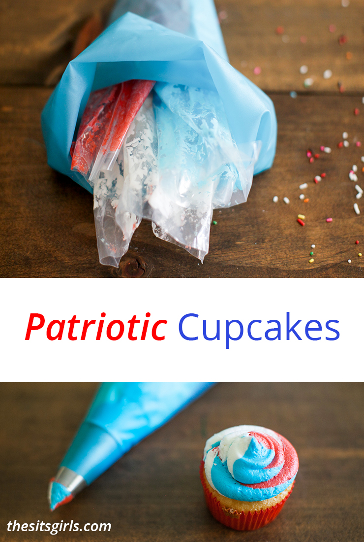 Patriotic Cupcakes are the cutest way to do dessert on July 4th! Get the perfect swirled frosting each time with this easy tip!