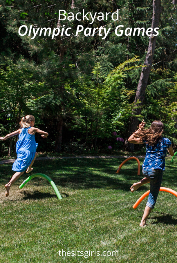 3 backyard Olympic party games that are easy to set up! Great summer activities to help kids catch the Olympic spirit.
