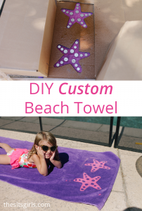 Making your own custom beach towel is super easy with this tutorial. You can create any pattern or saying you like, and embrace the summer fun at the beach or pool.