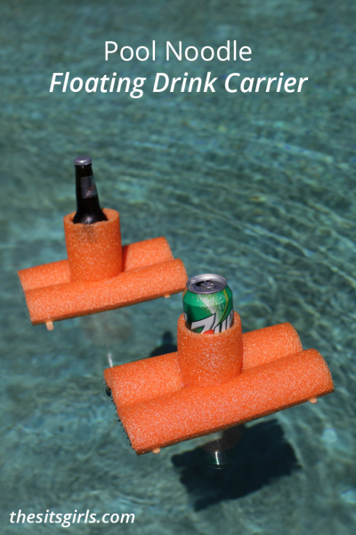 Keep your drink cold and near you in the pool with this easy DIY pool noodle floating drink carrier!