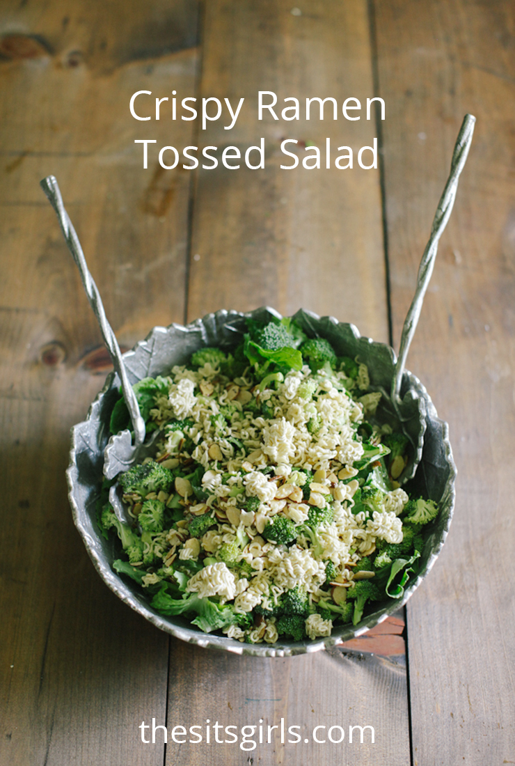 Crispy Ramen Tossed Salad is the perfect combination! Healthy veggies, a sweet yet tangy dressing, and the right amount of crispy crunch! You will love this healthy salad recipe.