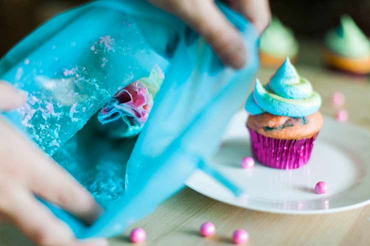 Combine all the bags together to get a beautifully swirled cupcake!