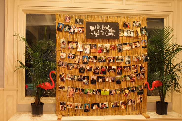 Bamboo backing is such a great idea for a photo display! This is a cute birthday party idea.