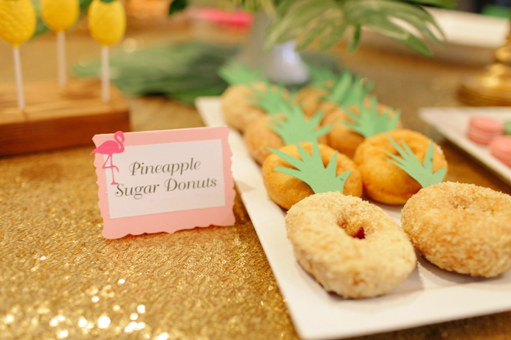 A cute and simple way to make donuts festive for a tropical party! Pineapple Sugar Donuts