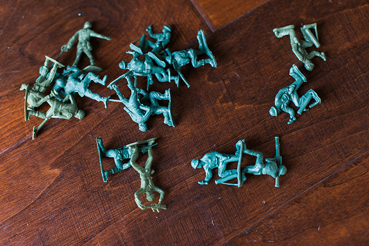 Toy army men transform for this cute costume!