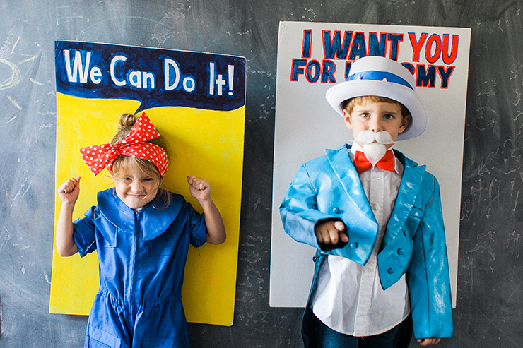 Rosie the Riveter and Uncle Sam posters - this is the cutest DIY matching costume ever!