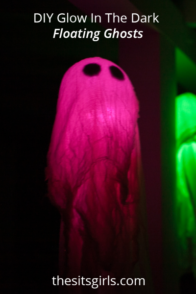 DIY Glow In The Dark Floating Ghosts are the perfect Halloween decor — a great mix of fun and spooky. Light 'em up, and you'll have the best decorated house on the street.