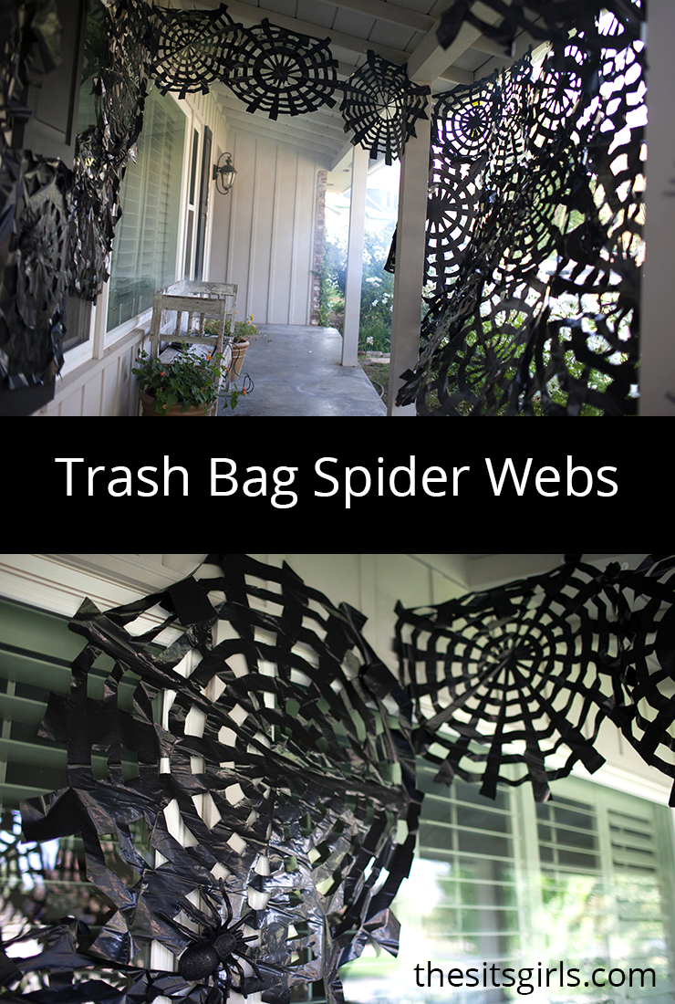 trash bag spider webs easy halloween decor spooky spider webs. Black Bedroom Furniture Sets. Home Design Ideas