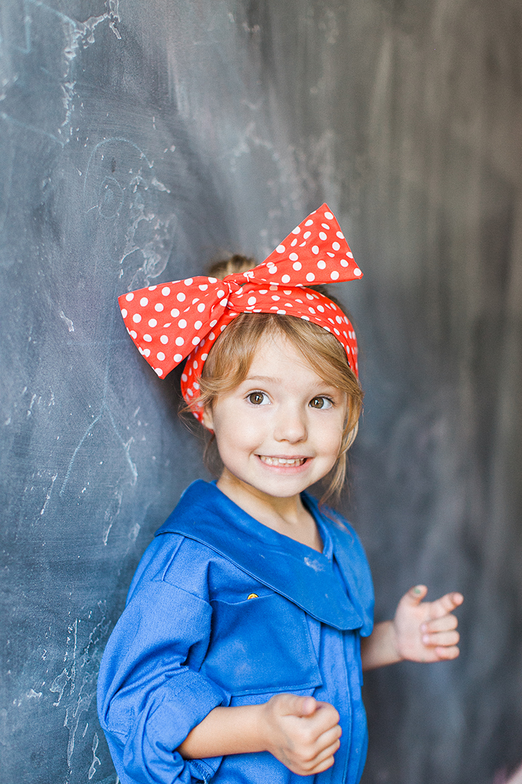 Rosie the Riveter costume. LOVE the red headscarf!