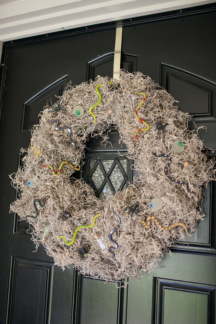 This creepy-crawly Halloween wreath is super easy to make. The materials only cost $10! Great project to add a touch of Halloween to your front door decor.