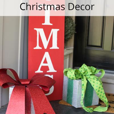 Cinder Block Present Christmas Porch Decor