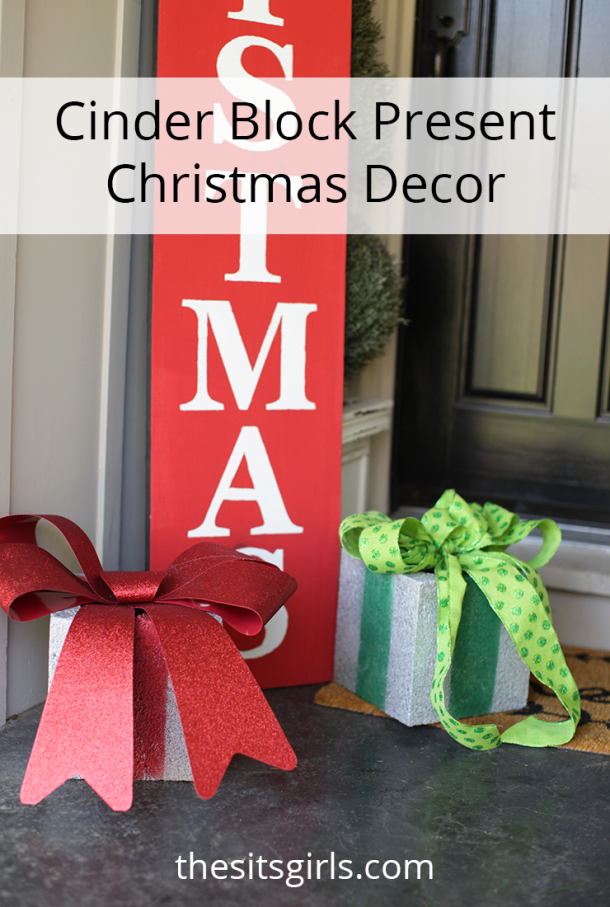 EASY Christmas porch decor! Use cinder blocks to make presents. They stand up well to cold, wet weather. Step by step tutorial with video.