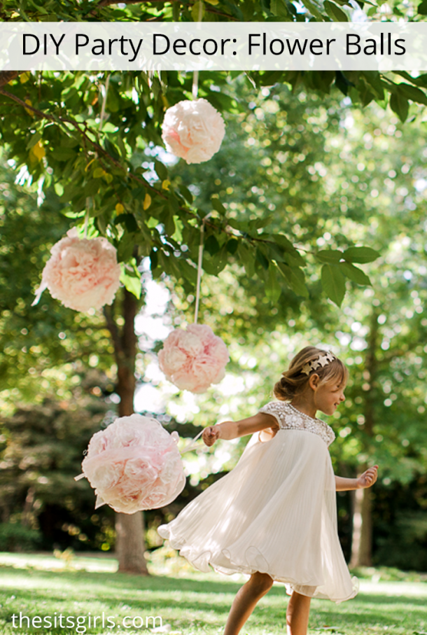 Learn how to make hanging flower balls out of coffee filters for party decor, photo shoots, or wedding decor. Includes step by step instructions and video tutorial. These are so easy to make!