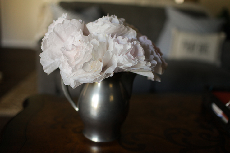 Coffee Filter Flowers In Antique Vase