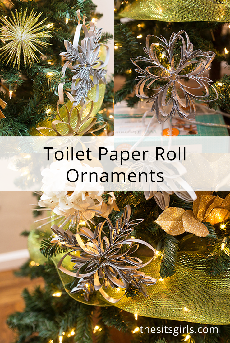 Learn how to make toilet paper roll ornaments! It's easy to make these glittery snowflakes. Step by step tutorials with video.