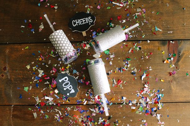 Love this idea - make your own confetti poppers for a New Year's Eve party! Super cute.