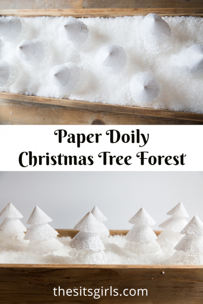 Easy paper Christmas trees. Create a paper doily Christmas tree forest for your Christmas mantle or table decoration.