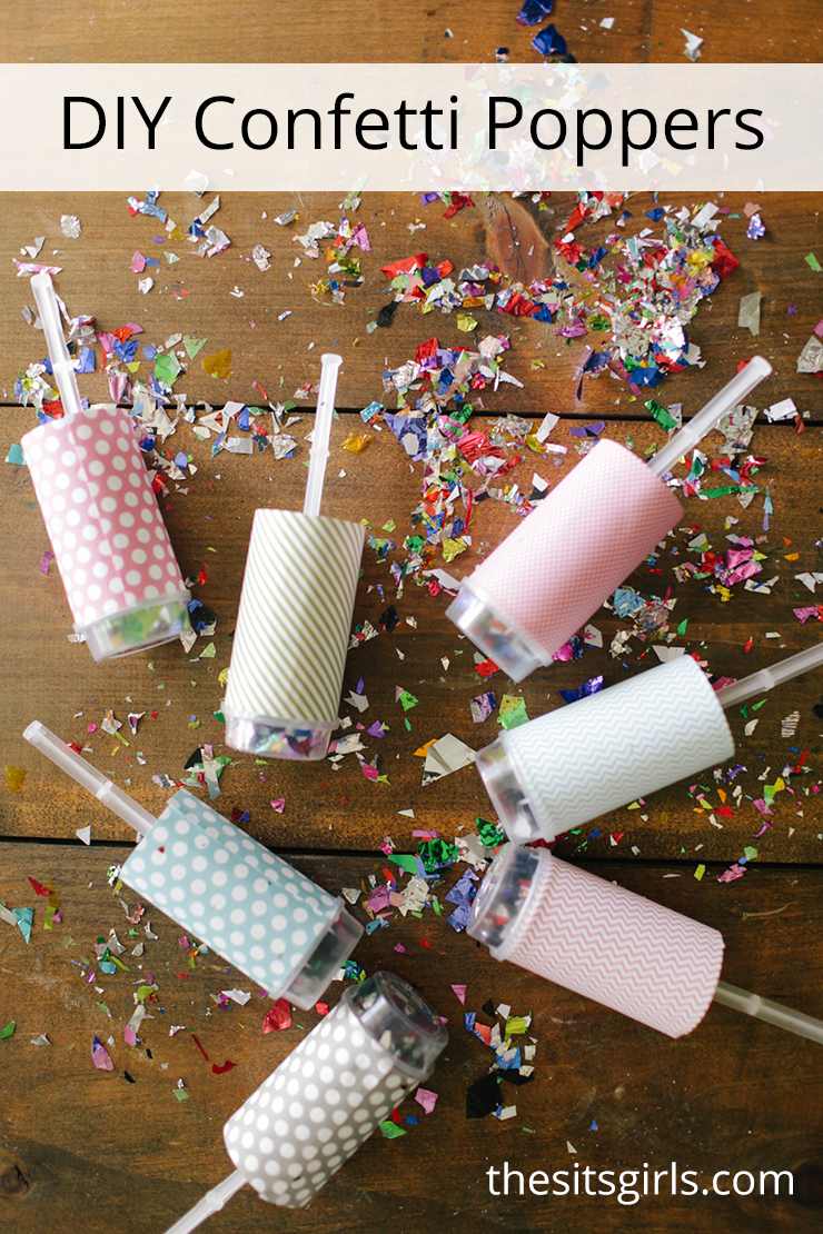 Every party needs a touch of sparkle! Confetti poppers are super fun, and easy to make yourself. They can be used again and again for New Year's Eve parties, bridal and baby showers, or other fun events.