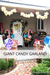Transform your front porch into a candy land gingerbread house with giant candy decorations! Love the giant candy garland. (Easy step-by-step tutorials with video.)