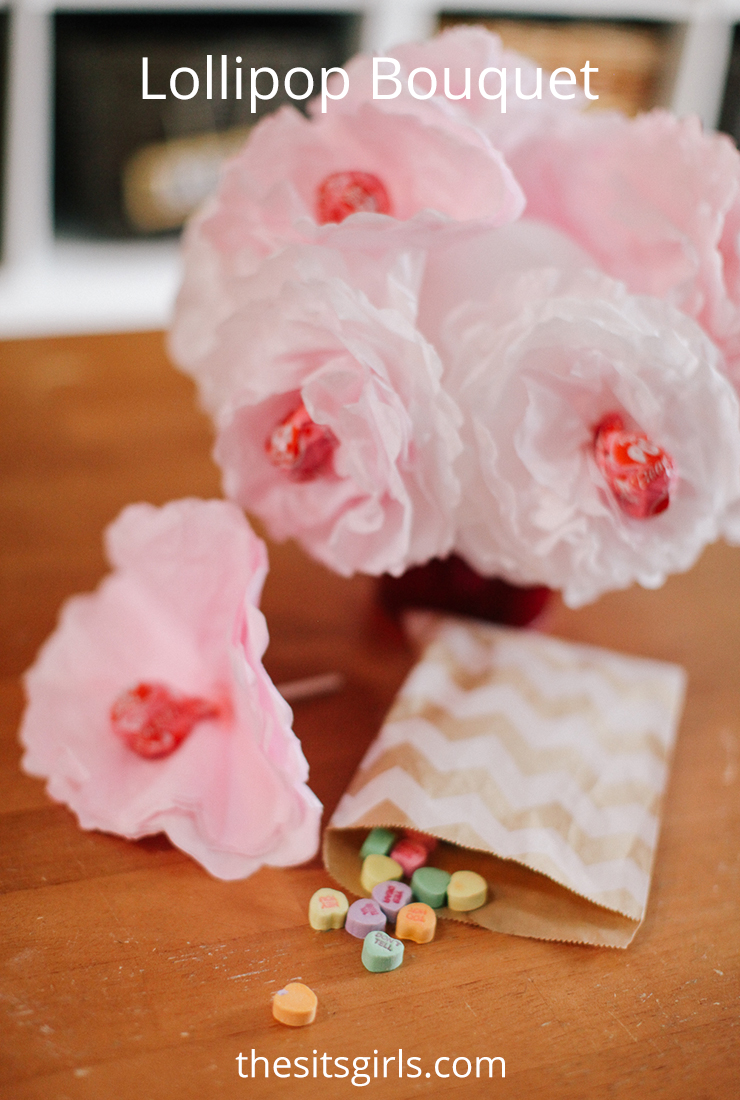 Lollipop Bouquet | Use coffee filters and lollipops to make this cute Valentine's DIY gift.