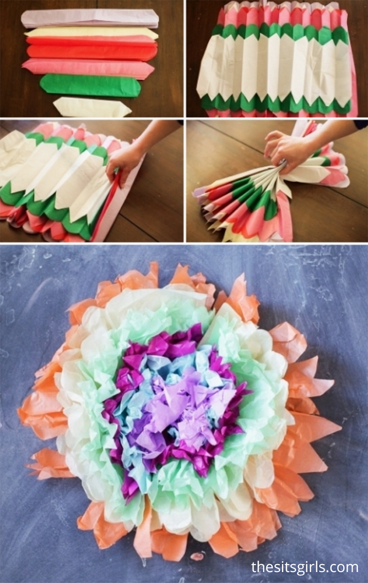 You only need tissue paper, scissors, and string to make giant tissue paper flower puffs!