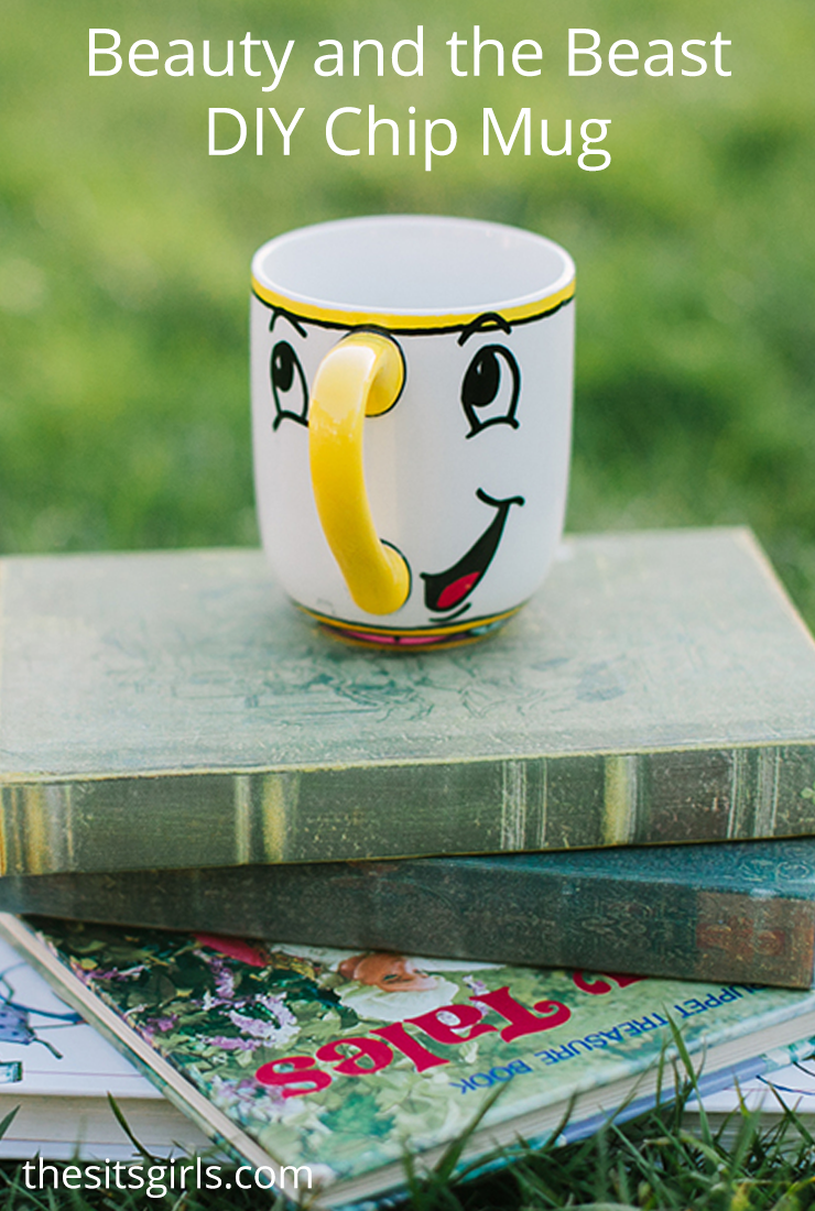 Beauty And The Beast Chip Mug DIY | Includes step by step video tutorial for Sharpie mugs inspired by Beauty and the Beast.