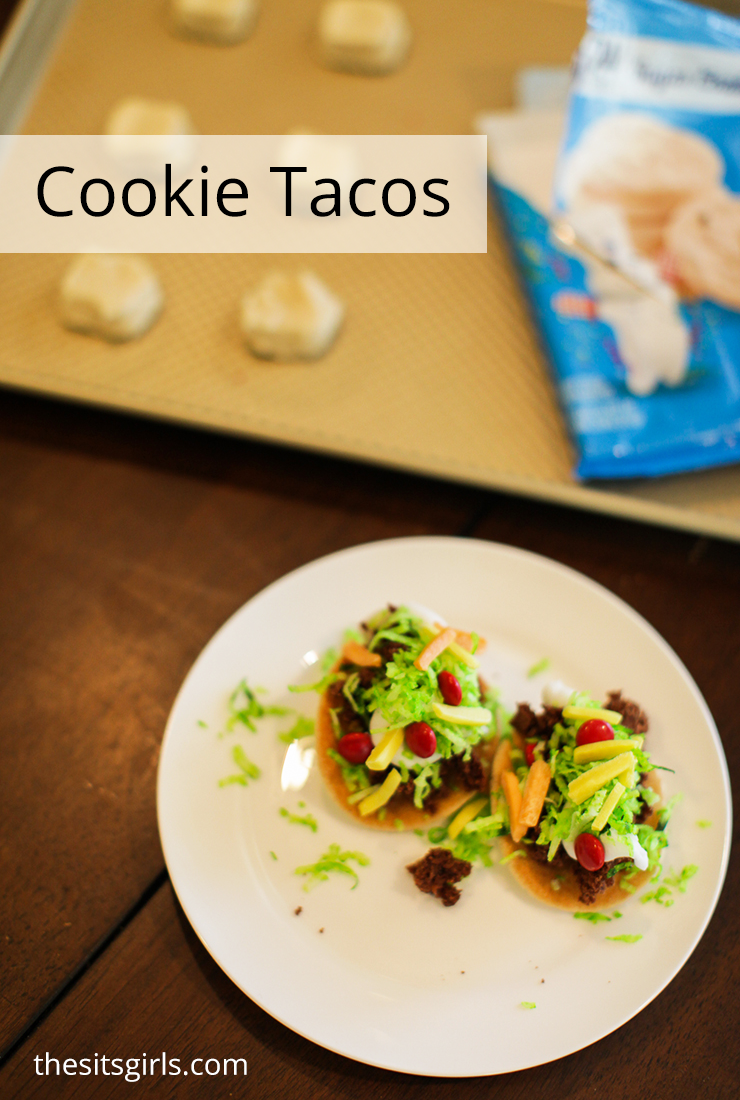 Use store bought dough to make these adorably delicious cookie tacos!