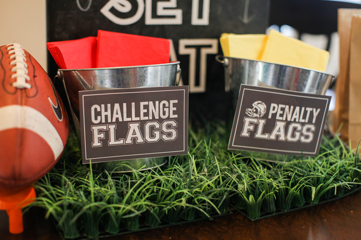 Yellow and red napkins make the perfect challenge and penalty flags!