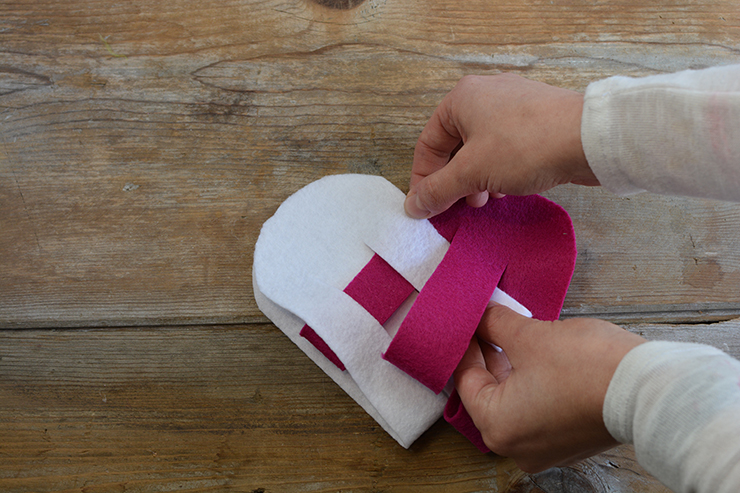 Weave the felt to create a heart!