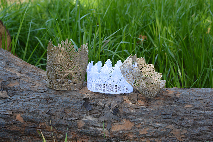 These lace crowns are so whimsical and beautiful.