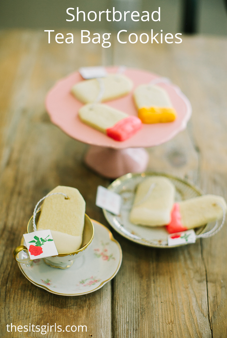 Shortbread tea bag cookies recipe & printable tea bag tags. Tea party cookies for Beauty and the Beast tea party.