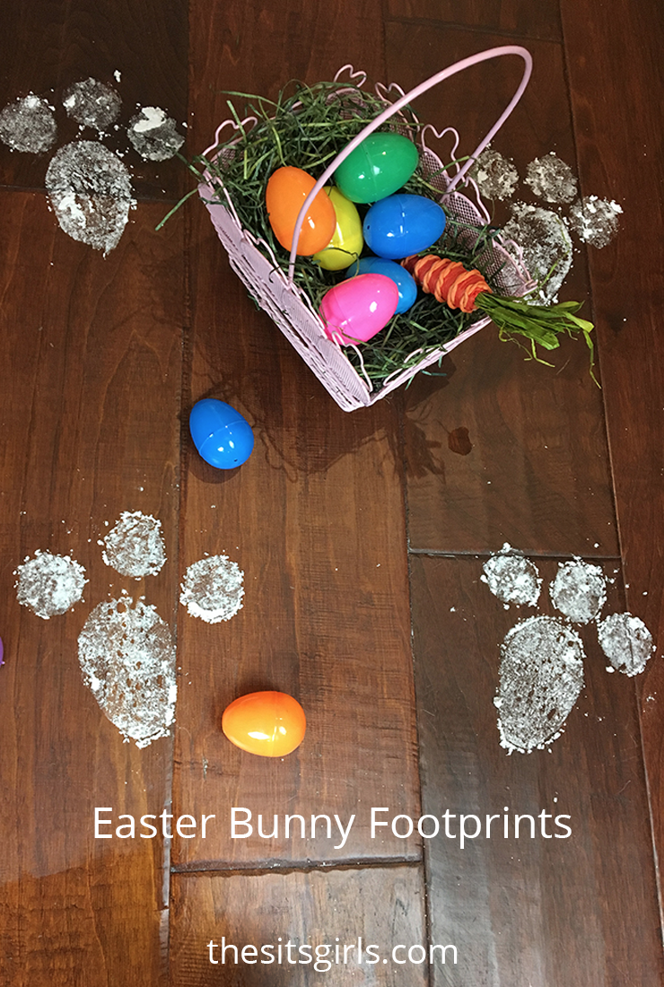 Use baking soda to make these cute Easter bunny footprints.